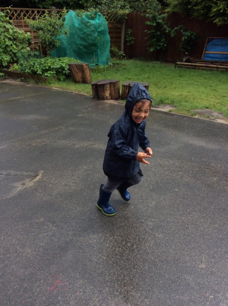 Running in the rain. Fantastic fun.