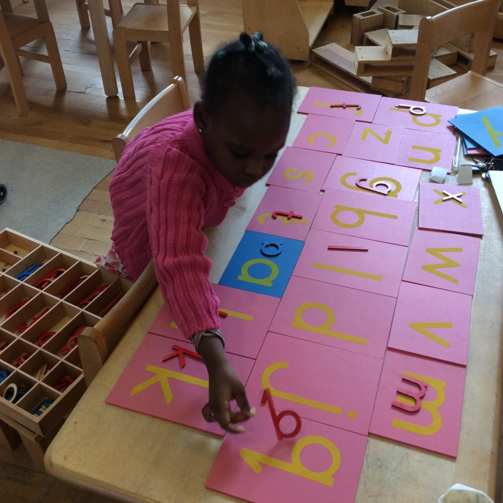 Sand paper letters and large moveable alphabet.